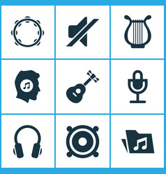 Audio icons set collection of mike silence lyre vector