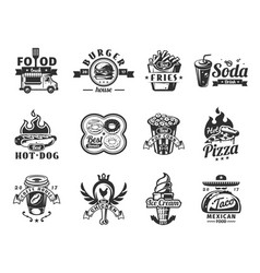 set of black fast food icons badges vector image
