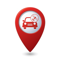 Car with satelite icon on red pointer vector
