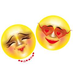 emoticons love vector image