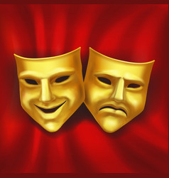 theatrical gold mask on a red background realistic vector image