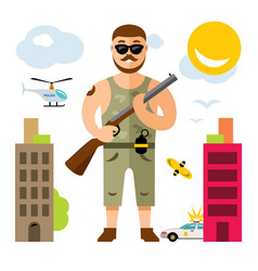 Gunman with rifle flat style colorful vector