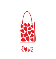 Love shopping bag with hearts inside card vector