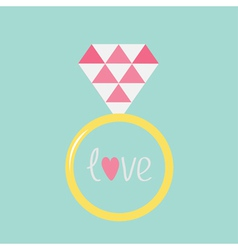 Wedding gold ring with pink diamond and word love vector