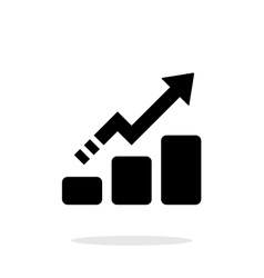Line chart up icon on white background vector