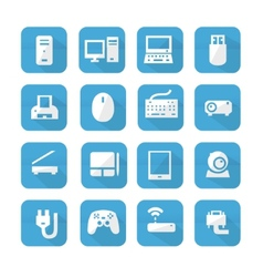 Blue computers device icons vector