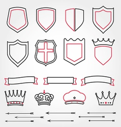 Set line shields heraldic crowns ribbons ar vector image
