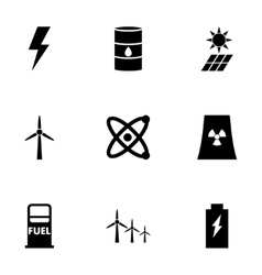 Black energetics icon set vector