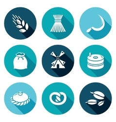Mill and bread icons set vector