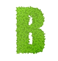 Uppecase letter b consisting of green leaves vector
