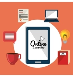 Online learning education graphic vector