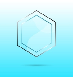 Hexagon abstract glass panel with copy space vector