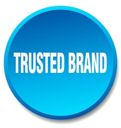Trusted brand blue round flat isolated push button vector