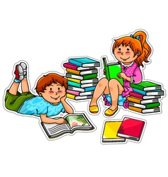reading kids vector image