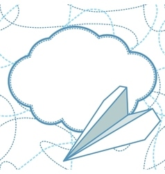 Paper planes and clouds background vector