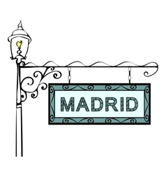 Madrid retro vintage lamppost pointer vector