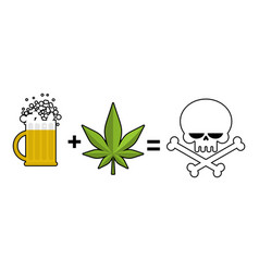 Alcohol and drugs is death mug of beer and vector