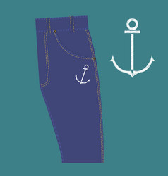 Anchor pattern design embroidery vector