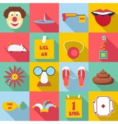 April fools day icons set flat style vector