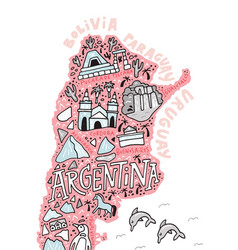 argentinian cartoon map vector image vector image
