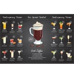 Back Drawing horisontal cocktail menu design vector image vector image