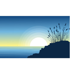 beauty scenery lake with coarse grass silhouettes vector image vector image