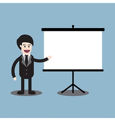 Businessman reporting on presentation board vector