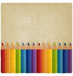 colored rainbow pencils old background vector image vector image