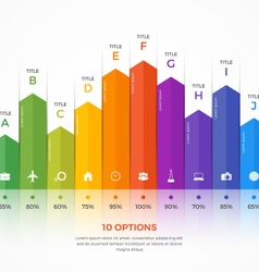 Column chart infographic template 10 options vector