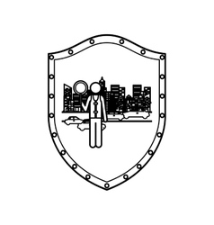 Contour shield of traffic guard in city with cars vector