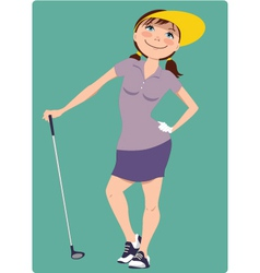 Cute cartoon golfer girl vector image