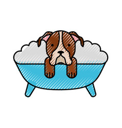 cute dog bathing in the tub vector image