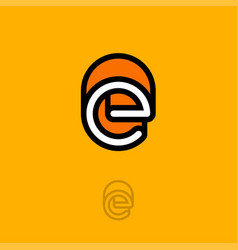 e monogram logo orange vector image vector image