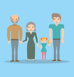 Family dad with grandparents and girl vector