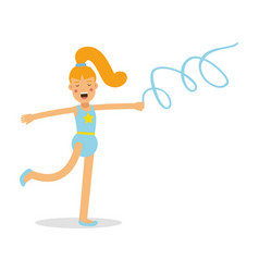Flexible girl gymnast with blue ribbon cartoon vector