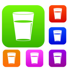 glass water set color collection vector image vector image