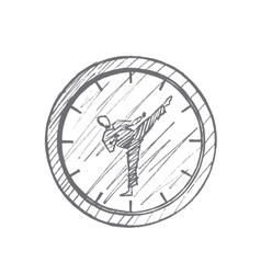 Hand drawn clock with karateka instead of hands vector