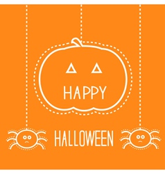 Happy halloween card with pumpkin and spiders vector
