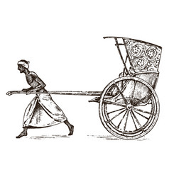 Hindu farmer with rickshaw working with a cart vector
