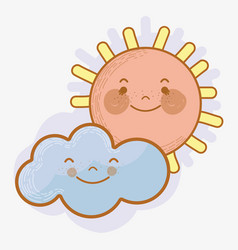 Kawaii sun and cloud with cheeks and eyes vector