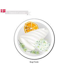 kogt torsk or boiled cod a popular dish in denmar vector image