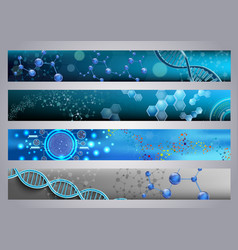 Molecular structure and dna banners background vector