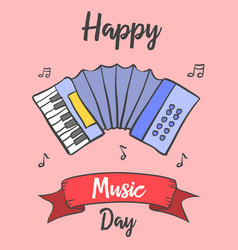 Music day card doodle style vector