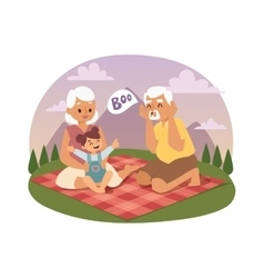 Old people family picnicking summer vector