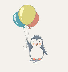 penguin with balloons vector image vector image