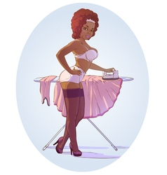 Pin up Afro girl sexy vector image