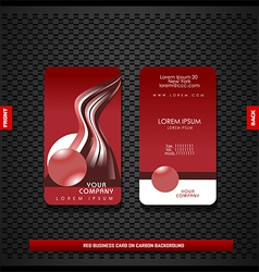 Red business card on carbon background vector image vector image