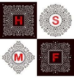 Set of monogram lettering vector image