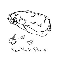 Striploin new york strip steak cut isolated vector