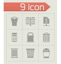 Trach can icon set vector